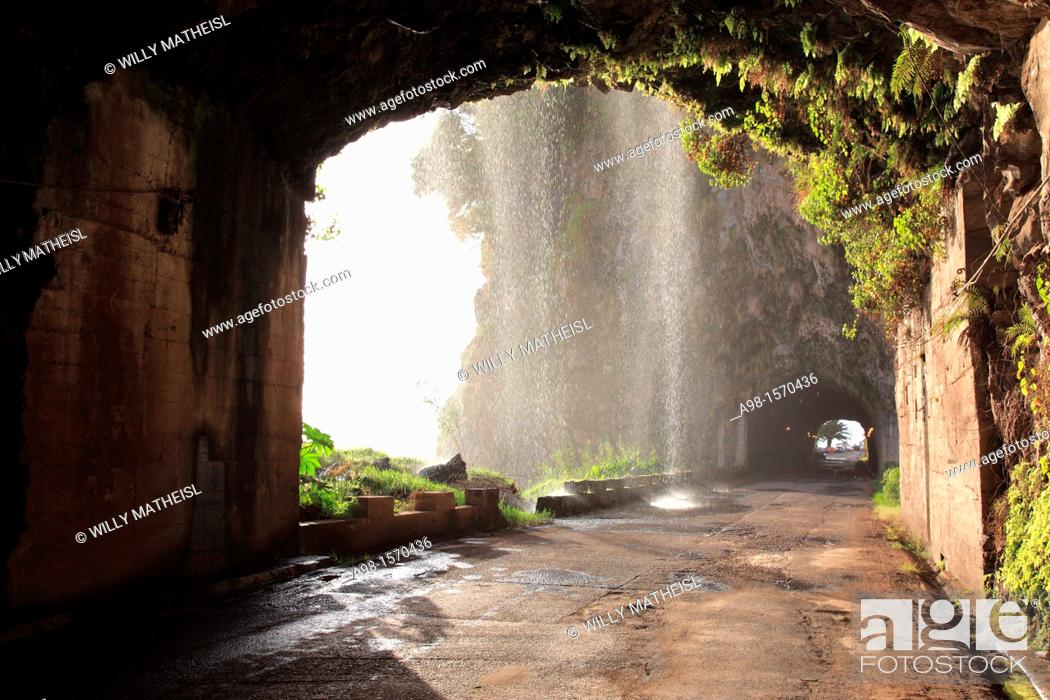 Stock Photo: tunnel and waterfall at the old coastal road, also called the car washing street, Madeira, Portugal, Europe.