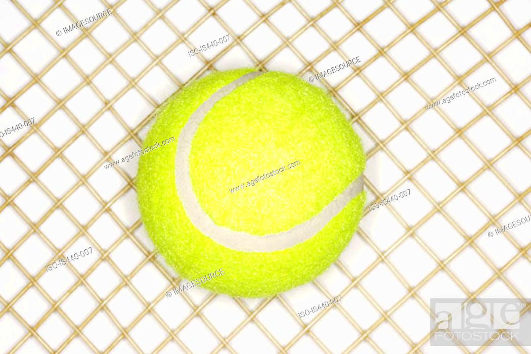 Stock Photo: Tennis racket and ball.