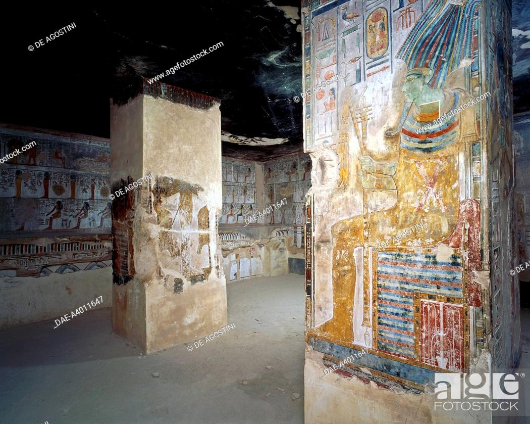 Osiris enthroned, fresco, hall of tenders, Tomb of Seti I (KV17