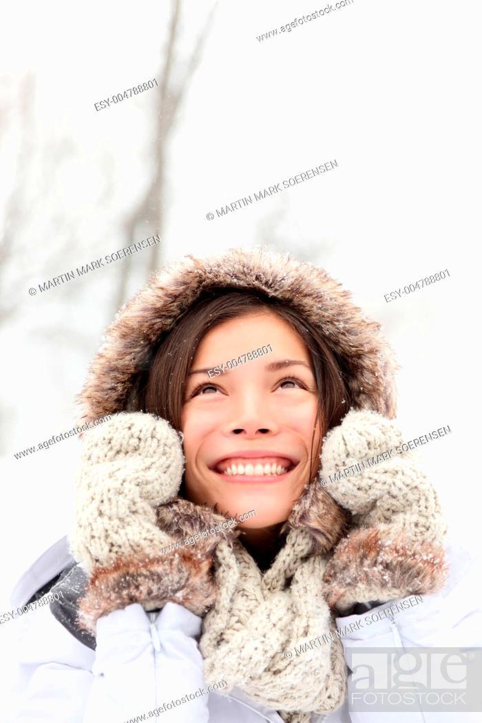 Stock Photo: winter woman in snow.