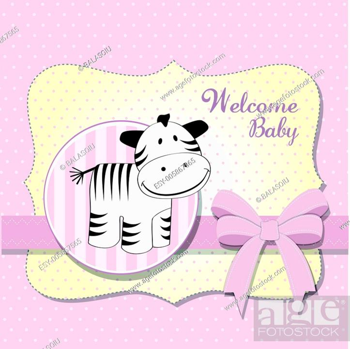 Cute Baby Shower Card With Zebra Stock Vector Vector And Low