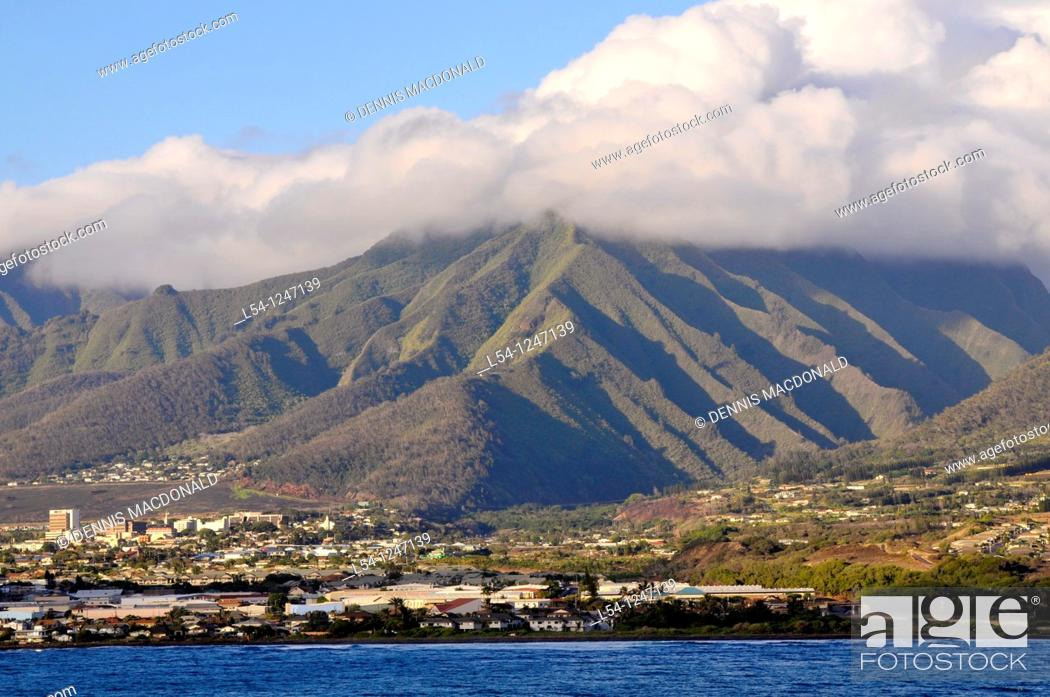Stock Photo: View as Cruise Ship approaches Kahului Harbor Maui Hawaii.