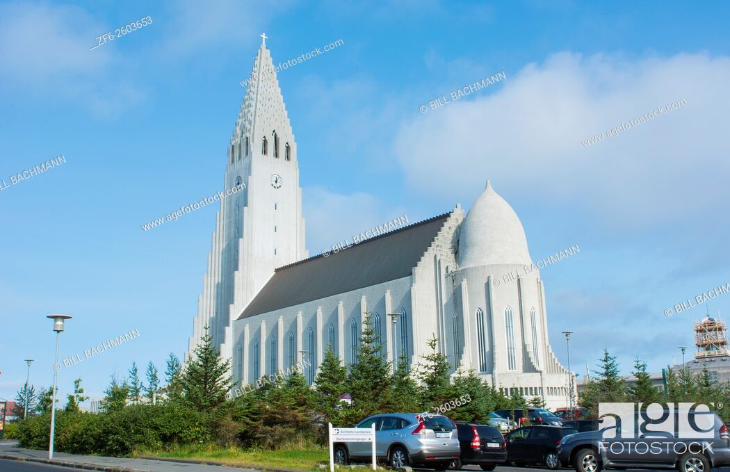 Stock Photo: Reykjavik Iceland Arctic Hallgrimskirkja downtown tall church with steeple of Hallgrim Church.