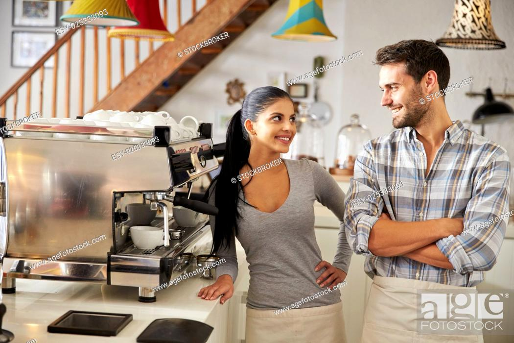 Stock Photo: Happy cafe workers.