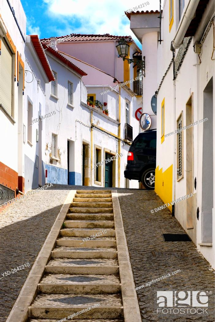 Stock Photo: Europe, Portugal, Algarve, Faro district, Lagos, old town, characteristic narrow up and down streets.