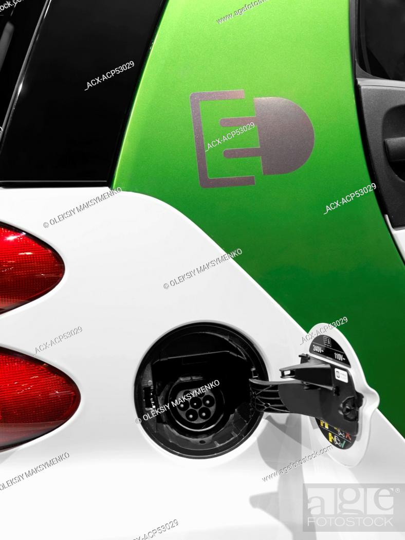Stock Photo 2017 Smart Fortwo Electric Drive Plug In Car Open Vharging Port Socket Closeup