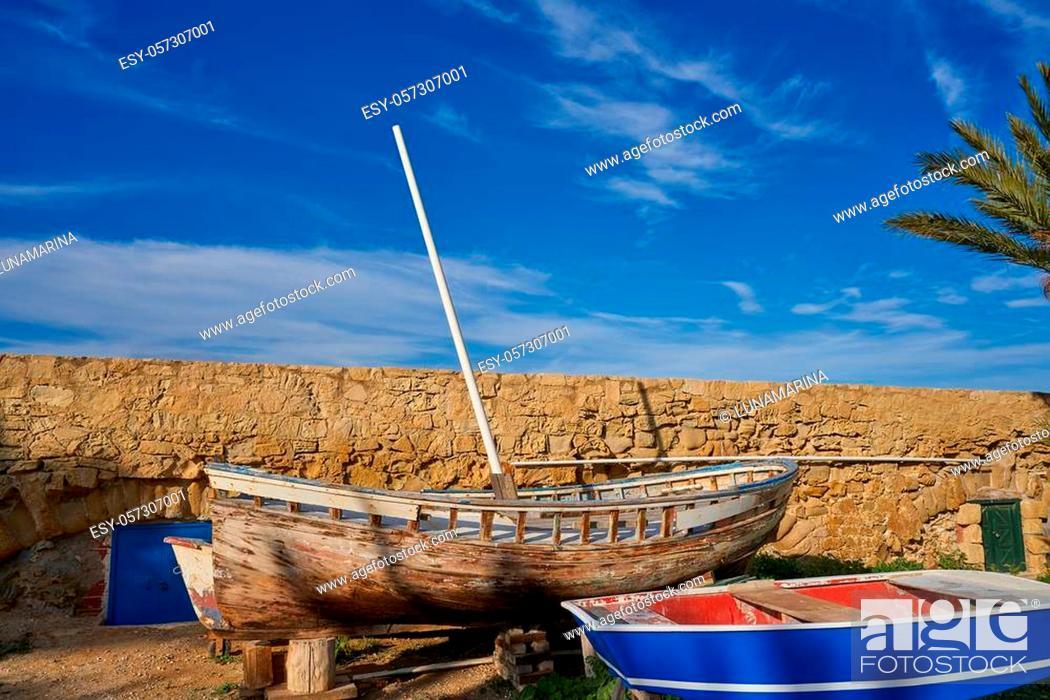 Stock Photo: old boat in Nova Tabarca island of Alicante Spain.