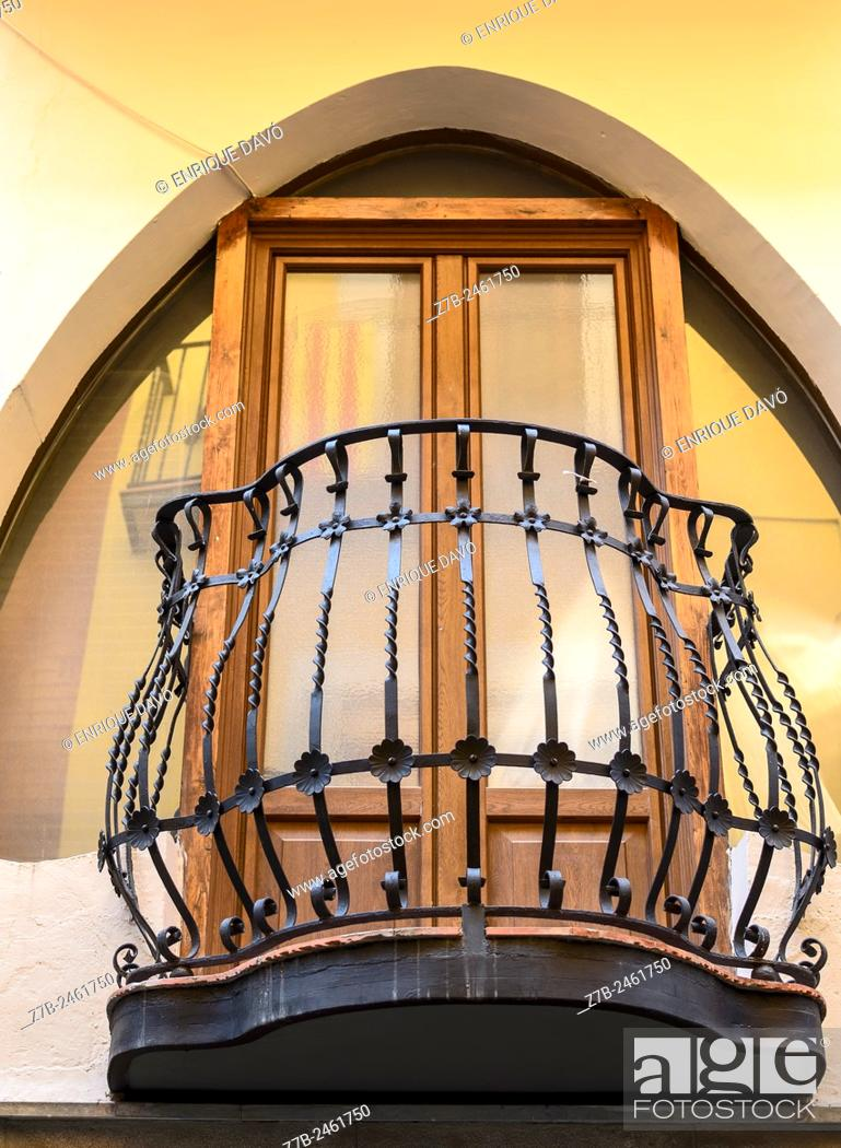Stock Photo: Down view of a Modernist balcony in a house of Balaguer town, Lerida province, Catalonia, Spain.