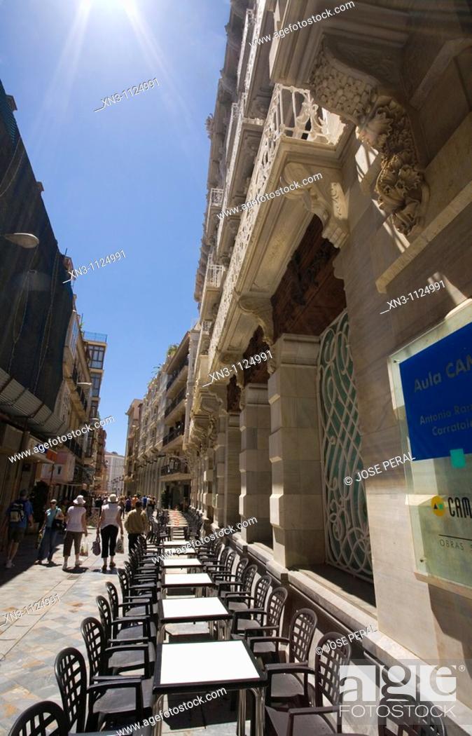 "Stock Photo: ""CASA CERVANTES"", Calle Mayor, Cartagena, Murcia, Spain."