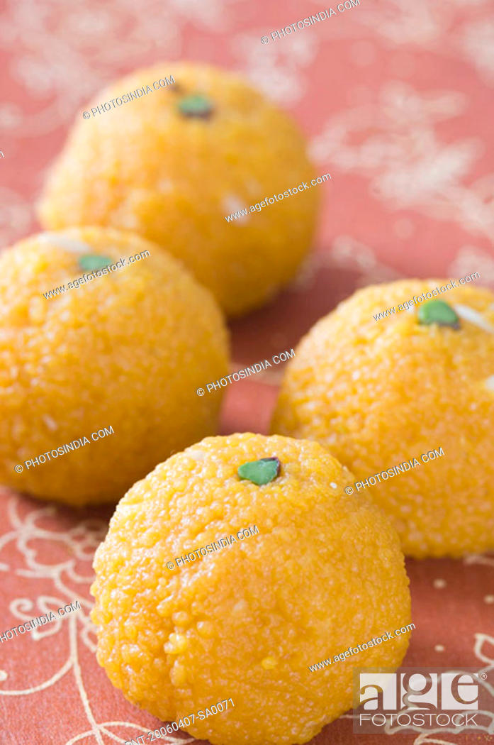 Stock Photo: Close-up of four Ladoos.