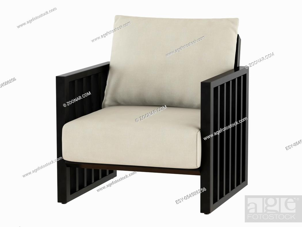 Stock Photo: Soft armchair with wooden armrest 3d rendering.