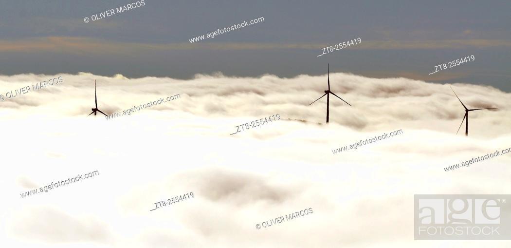Stock Photo: Wind turbines, Sierra de Teleno, Montes de León, León province, Spain.