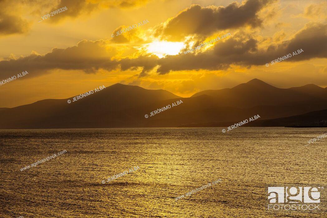 Imagen: Landscape at sunset, Puerto del Carmen. Lanzarote Island. Canary Islands Spain. Europe.
