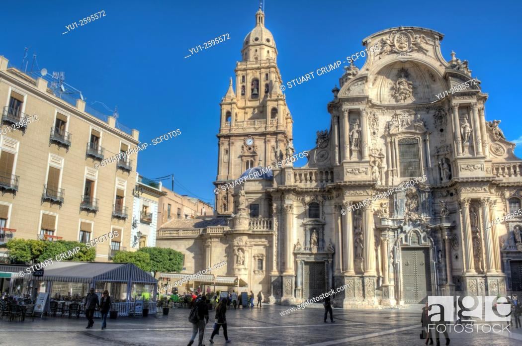 Stock Photo: Murcia Cathedral and the Plaza del Cardenal Belluga in Murcia, Spain.
