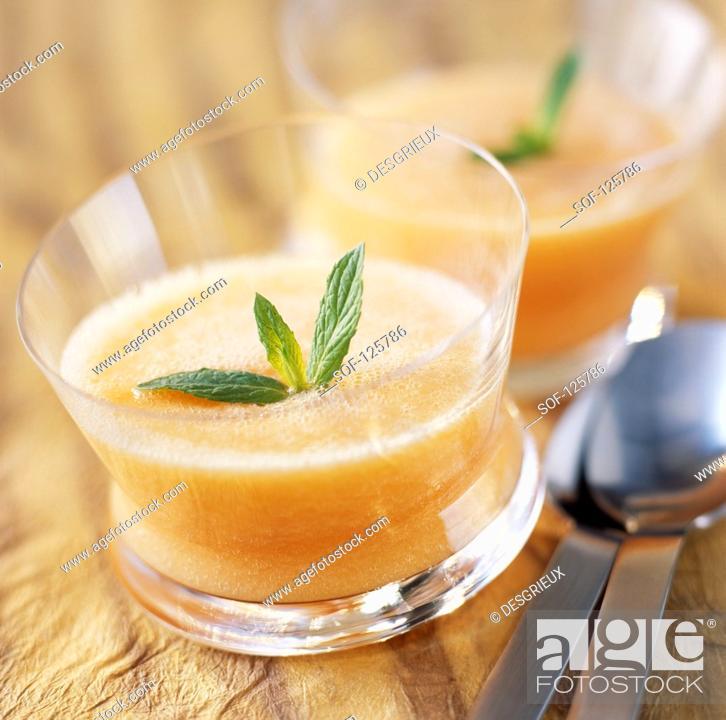Stock Photo: Cold melon soup.
