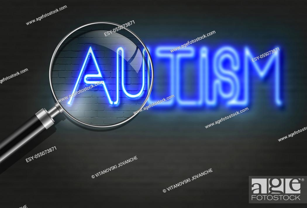 Stock Photo: writing words ' Autism ' on bricks background made in 2d software.