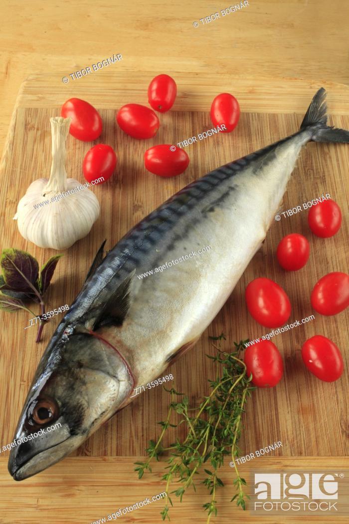 Stock Photo: Mackerel, fish, cherry tomatoes, garlic, thymus, .