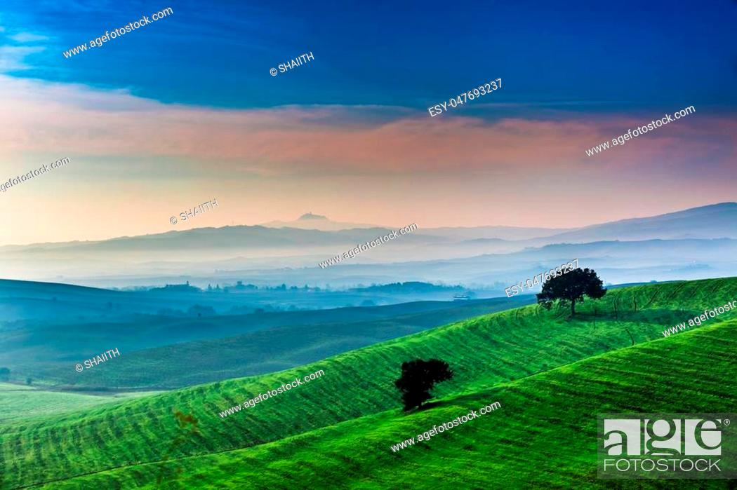 Stock Photo: Sunrise over a green valley in Tuscany.