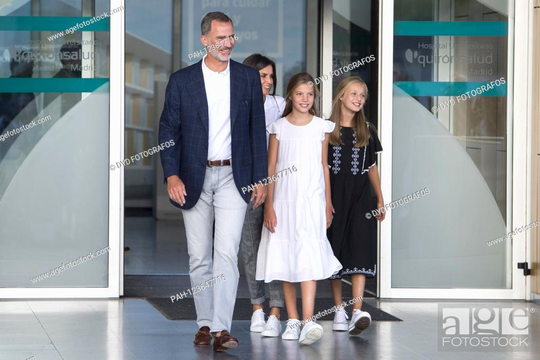 Stock Photo: King Felipe VI. From Spain, Queen Letizia of Spain, Princess Sofia of Spain and Princess Leonor of Spain visit Juan Carlos after his heart surgery at the.