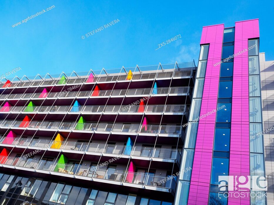 Stock Photo: Coloured apartments (Tinderbox House) in Deptford - London, England.