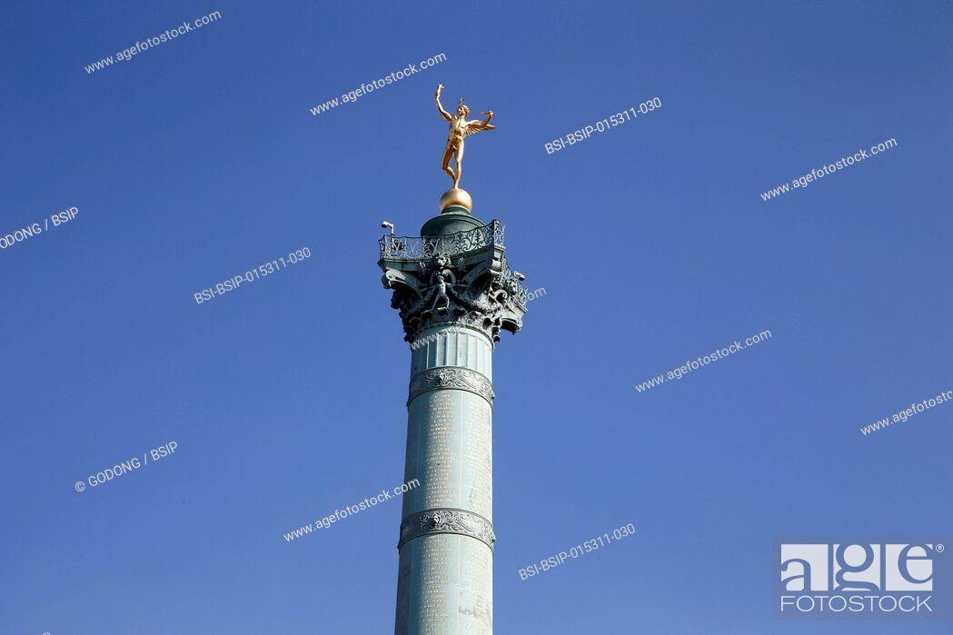 Stock Photo: Genie de la bastille statue on top of a column, Paris.
