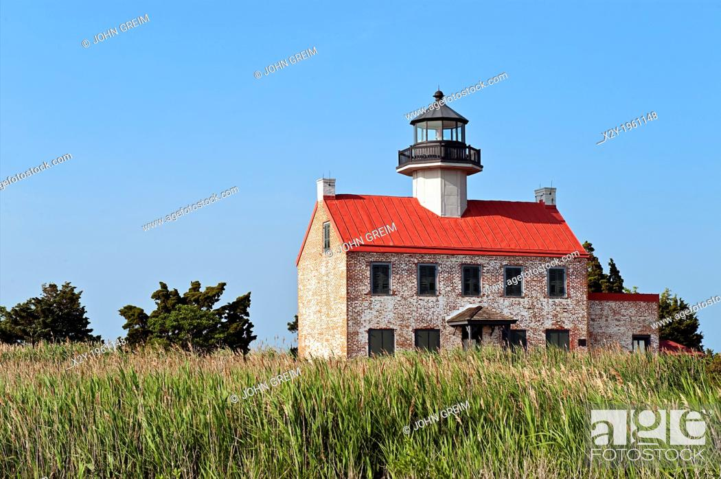 Stock Photo: East Point Lighthouse on the Deleware Bay, New Jersey, USA.