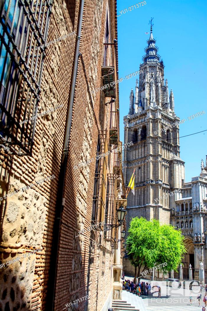 Stock Photo: Belltower of the Primate Cathedral of Saint Mary of Toledo.
