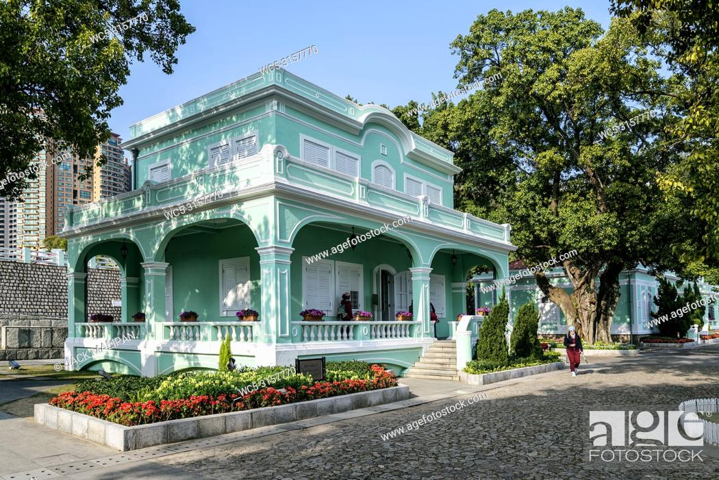 Stock Photo: old portuguese colonial mansions tourist attraction in taipa area of macao macau china.
