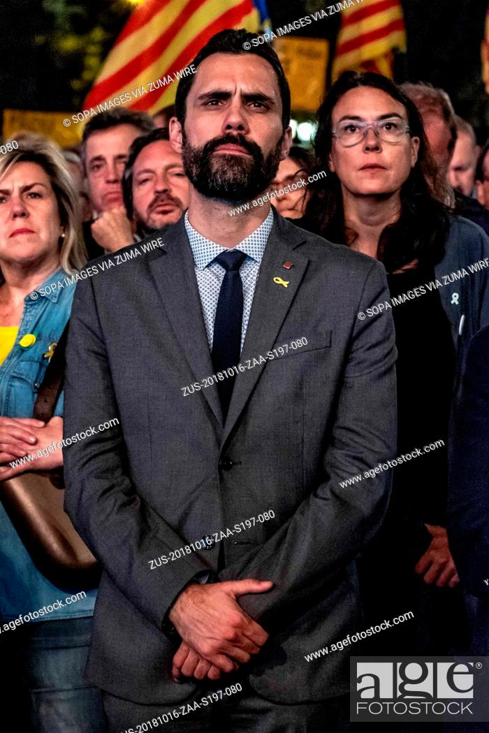 Stock Photo: October 16, 2018 - Barcelona, Catalonia, Spain - Roger Torrent, President of the table of the Parliament of Catalonia seen during the protest.