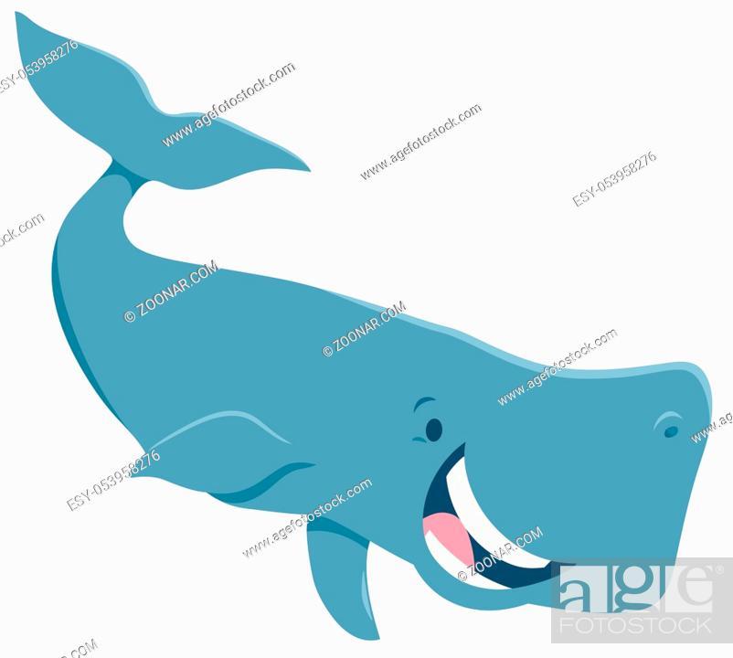 Stock Photo: Cartoon Illustration of Happy Whale Sea Animal Character.