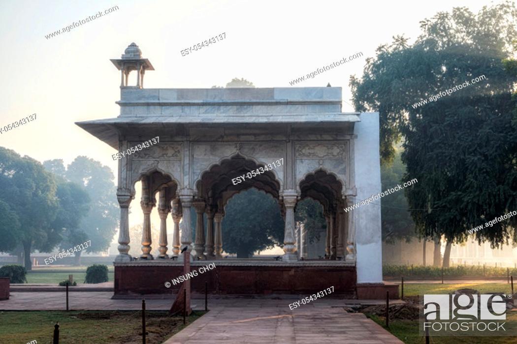 Stock Photo: Sawan Pavilion in Red Fort, New Delhi, India taken during sunrise hours during morning fog.