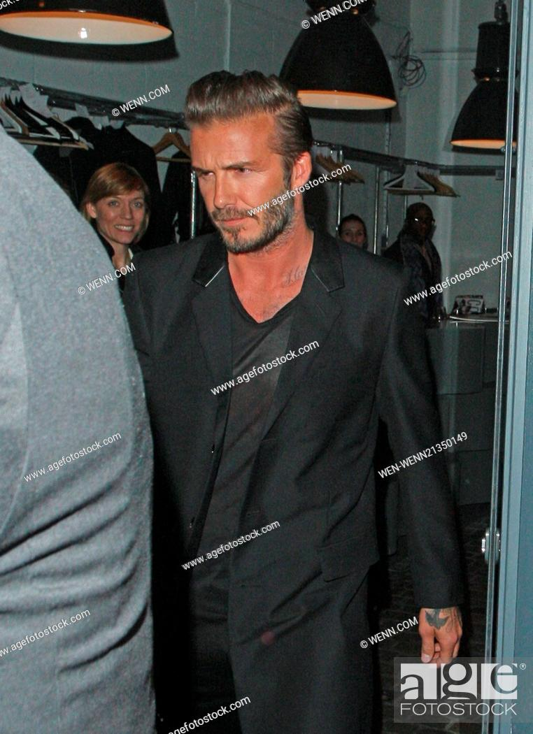 8c66035d33 Stock Photo - David Beckham H&M swimwear collection launch party at  shoreditch house. Ellie Gouilding, Niall Horan and Liam Payne were seen  leaving the bash ...