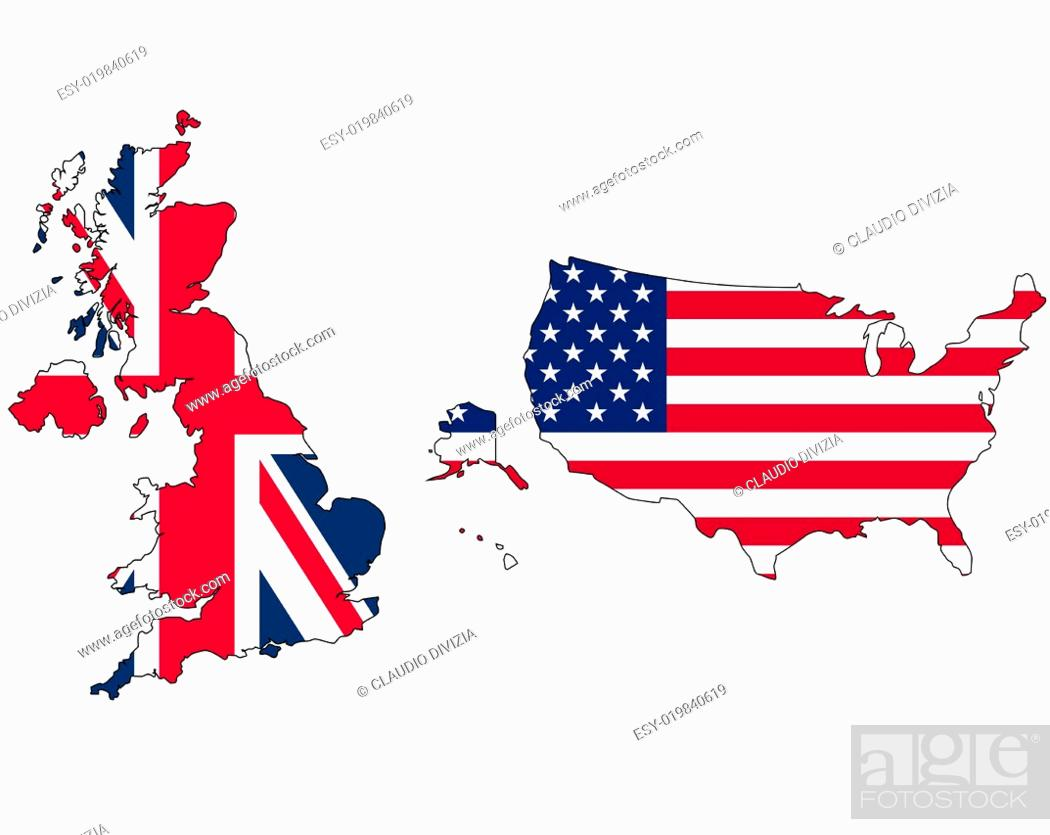 Imagen: UK and USA flag in map.