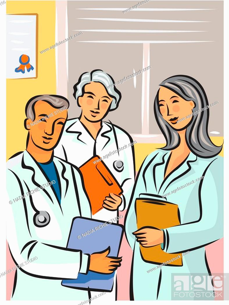 Stock Photo: Three doctors standing with clipboards.