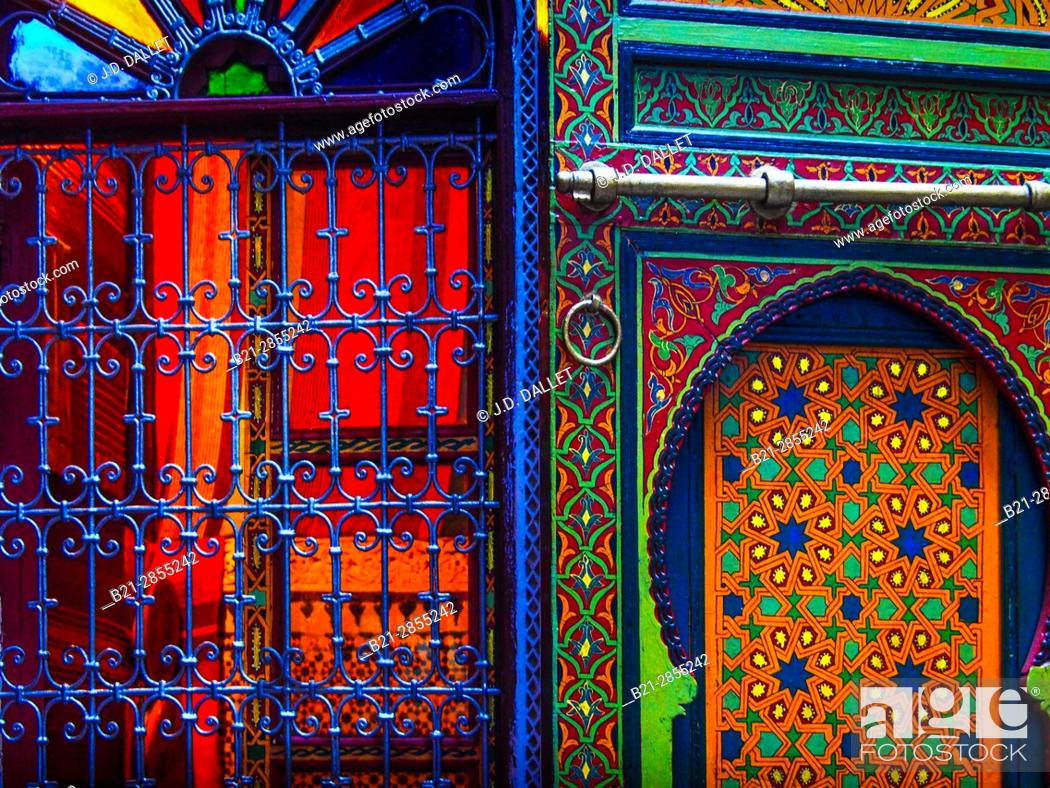 """Stock Photo: Morocco, Fes, interior of Riad Bou Iniana, in the """"""""Medina"""""""" (old part) of Fes."""