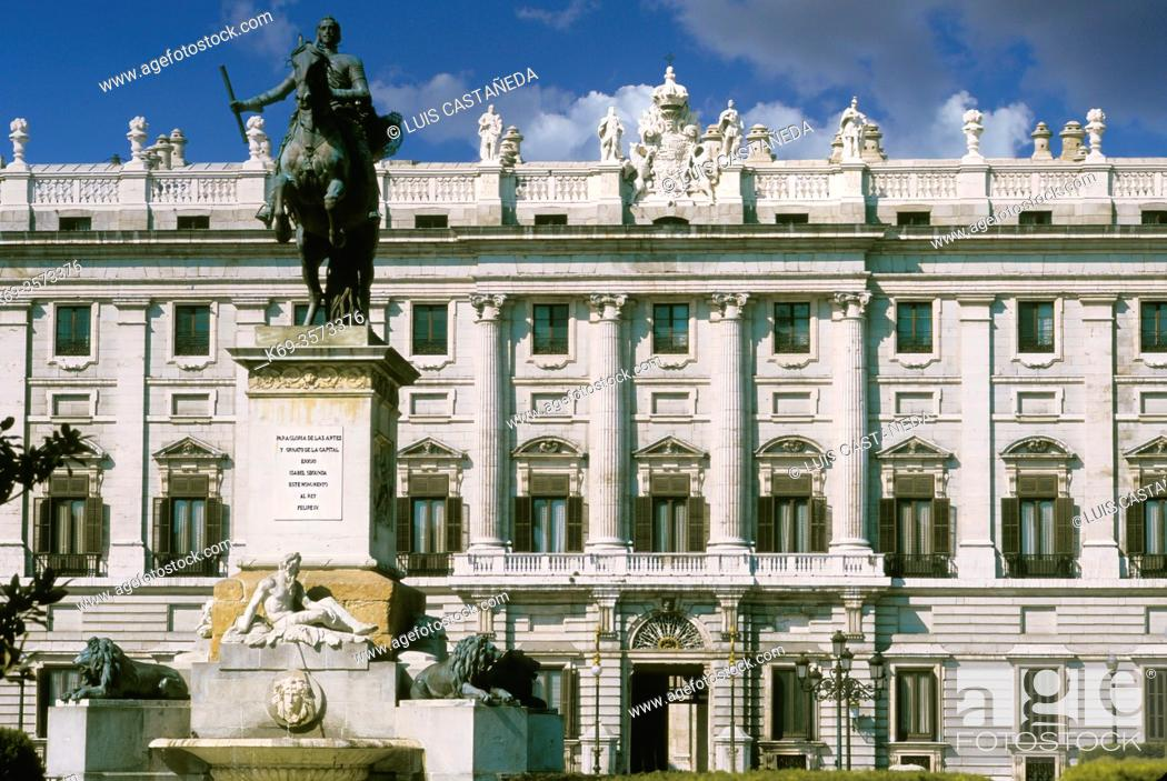 Stock Photo: King Felipe IV Monument and The Royal Palace. . Madrid. Spain.