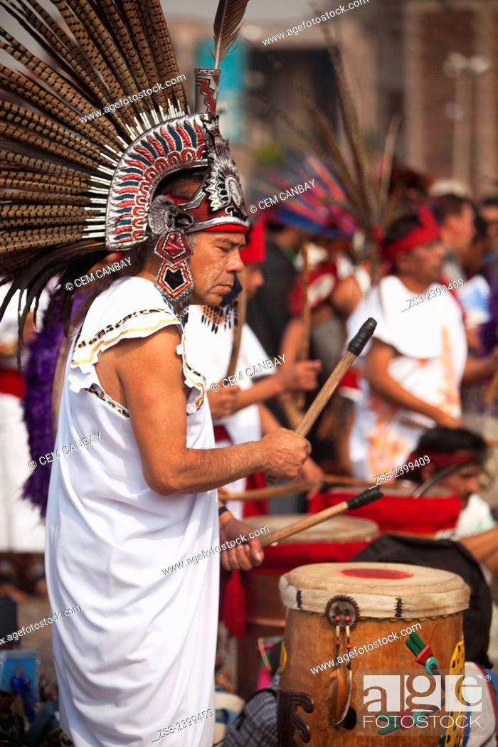 Stock Photo: Iúndigenous musician during a performance near the Basilica on the festival day dedicated to Our Lady of Guadalupe in Mexico City, Mexico, Central America.