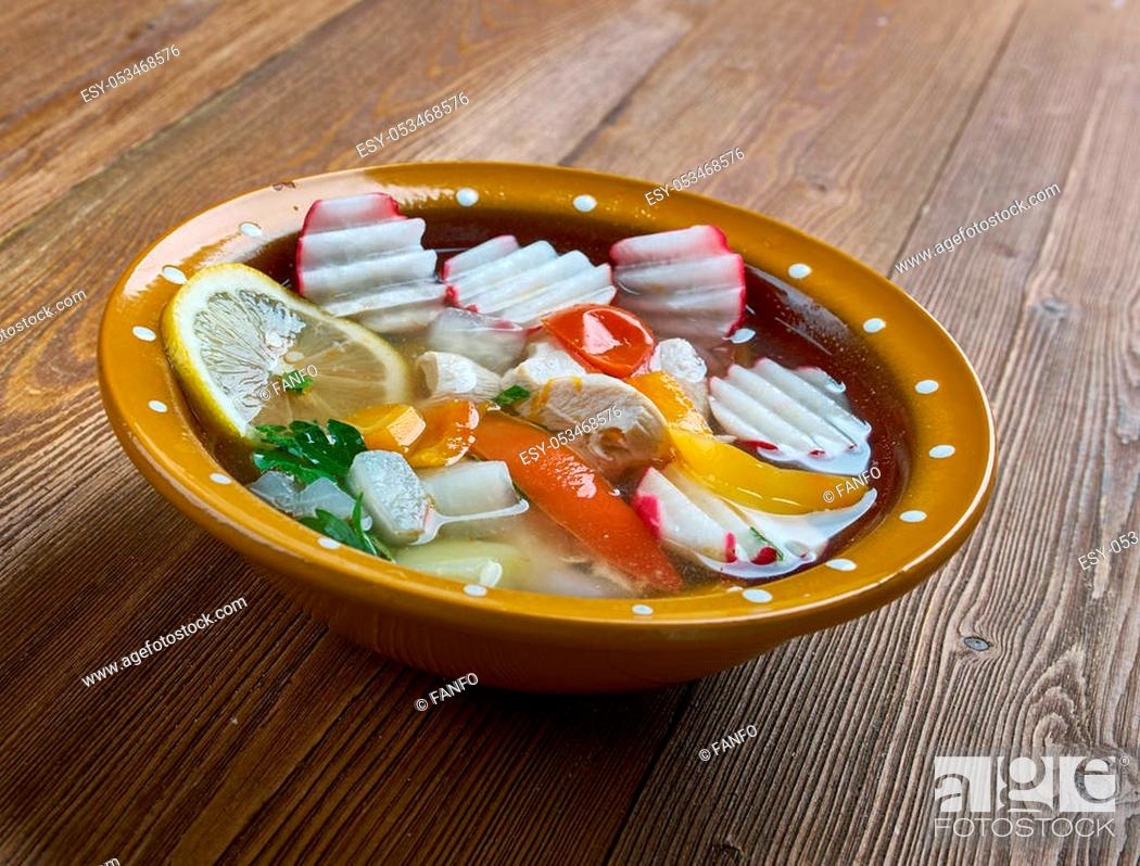 Stock Photo: chicken posole - traditional dish of Guerrero, Mexico, made with hominy, chicken, and several garnishes.
