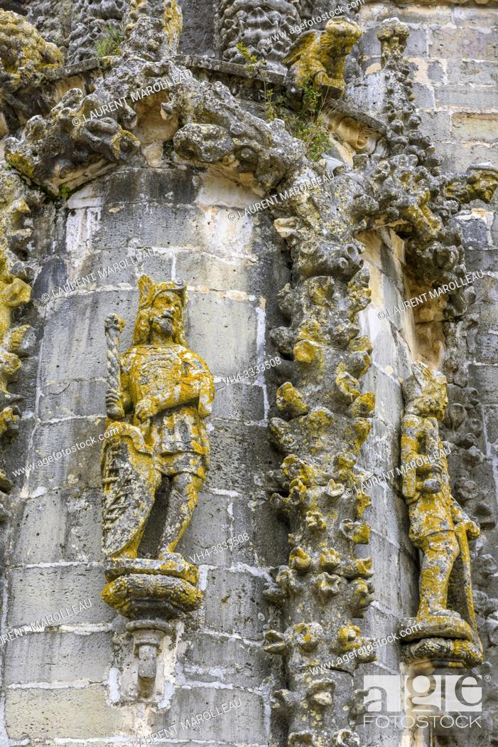 Stock Photo: Statues, Gargoyles and Manueline motifs on the Nave of Convent of Christ, Tomar, Santarem District, Centro Region, Portugal, Europe.