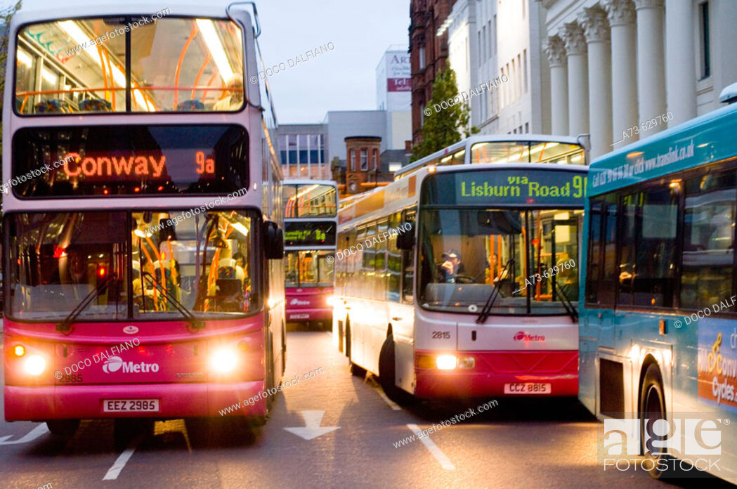 Stock Photo: bus stop at City hall, Donegall square. Belfast. Northern Ireland.