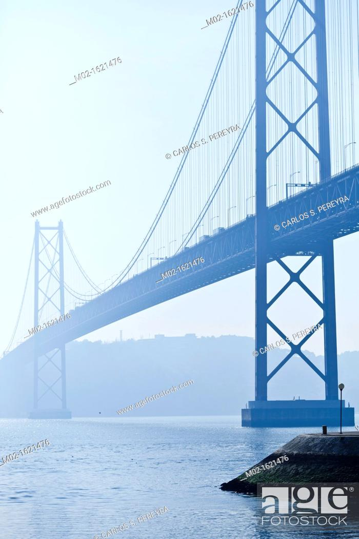 Stock Photo: 25th April Bridge inTagus river, Lisbon, Portugal.