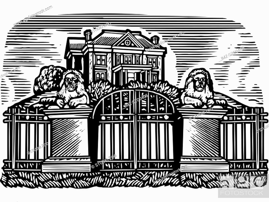Stock Photo: A picture of a mansion drawn in black and white.