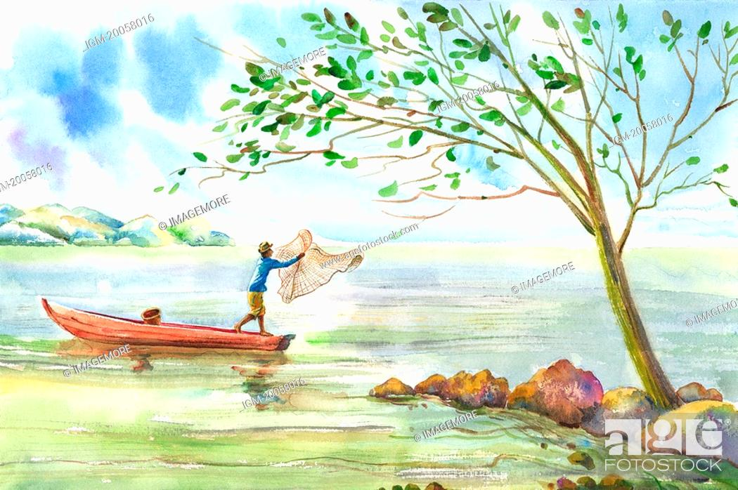 Stock Photo: Flower, Watercolor painting of a fishman using fishing net on a boat.