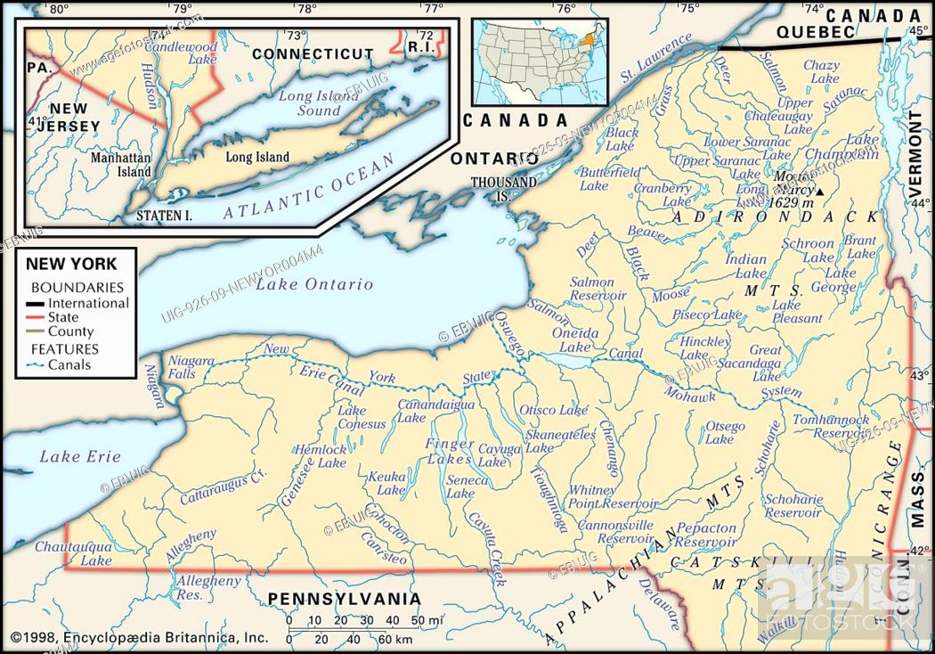 Map Of New York Rivers.Physical Map Of New York Showing Major Rivers Mountain Ranges