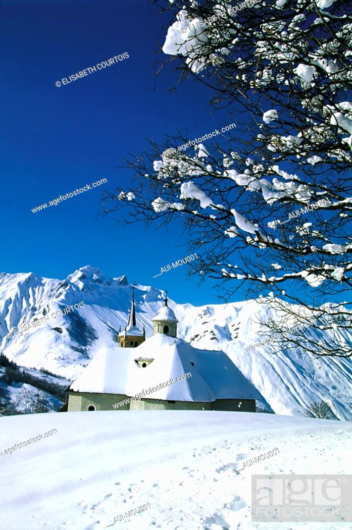 Stock Photo: Mountain - St Martin de Belleville - Winter - Church.