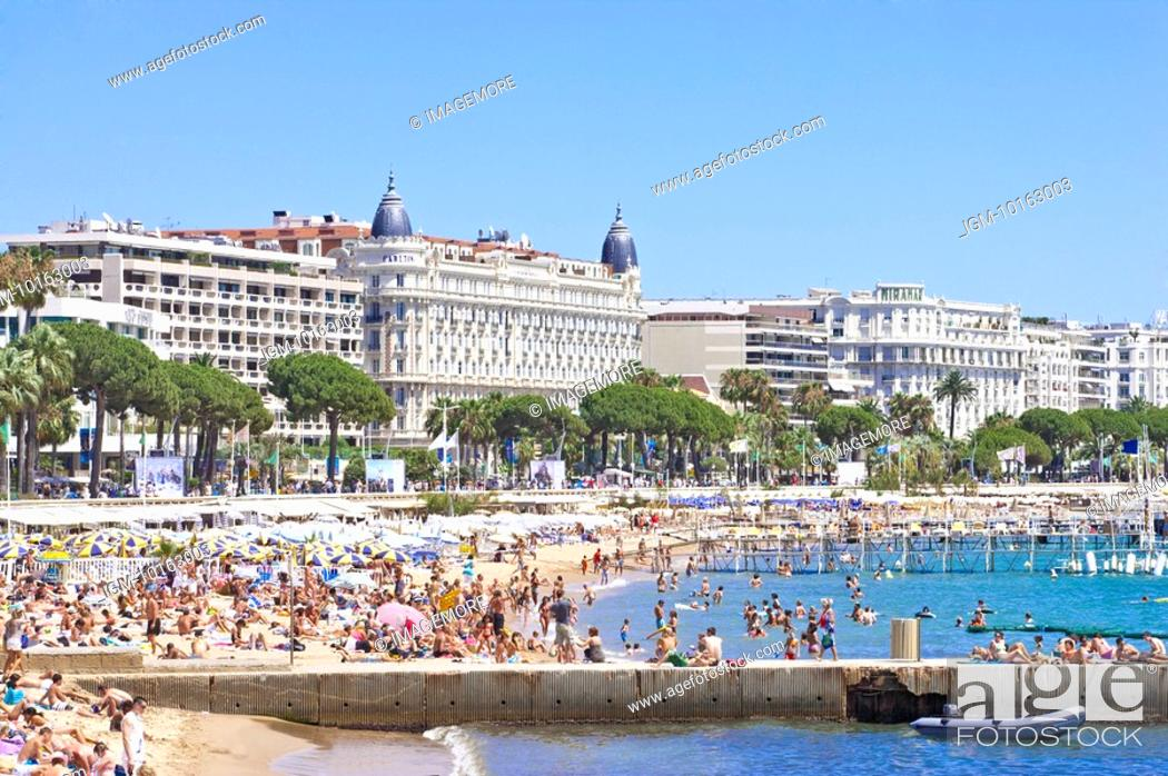 Stock Photo: Beach and Coastline in Cannes, Provence-Alpes-Cote d'Azur, France, Europe.