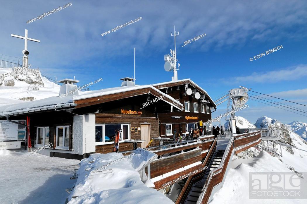 Stock Photo: Mt Nebelhorn summit station, 2224m, Oberstdorf, Allgaeu, Bavaria, Germany, Europe.