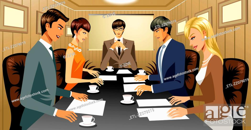 Stock Photo: Business people in conference room.