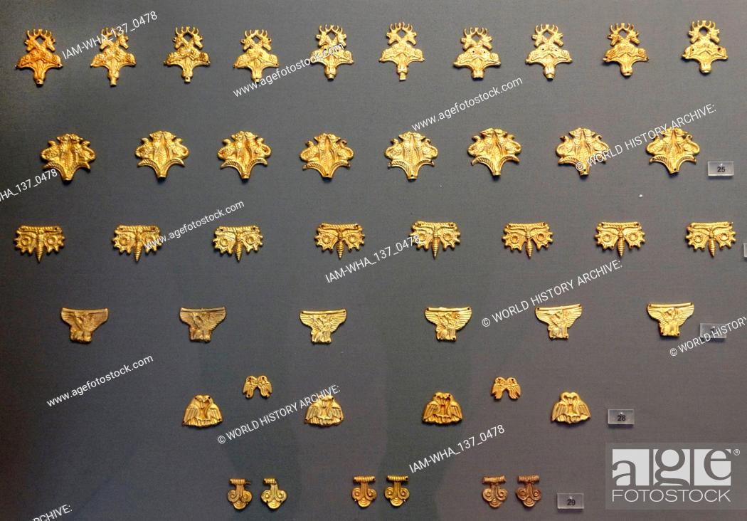 Stock Photo: Gold decorations for a robe or dress, from Circle A, a 16th-century BC royal cemetery, of the Bronze Age citadel of Mycenae in southern Greece.