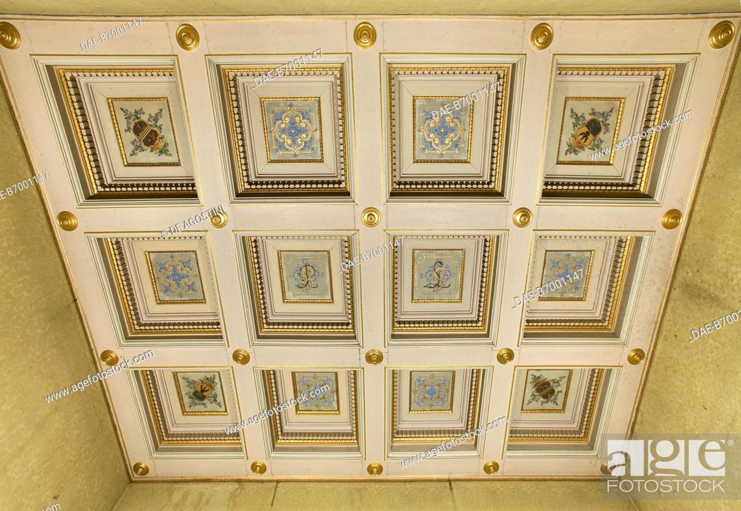 Coffered Ceiling With Gilded Decorations And Coat Of Arms Room In